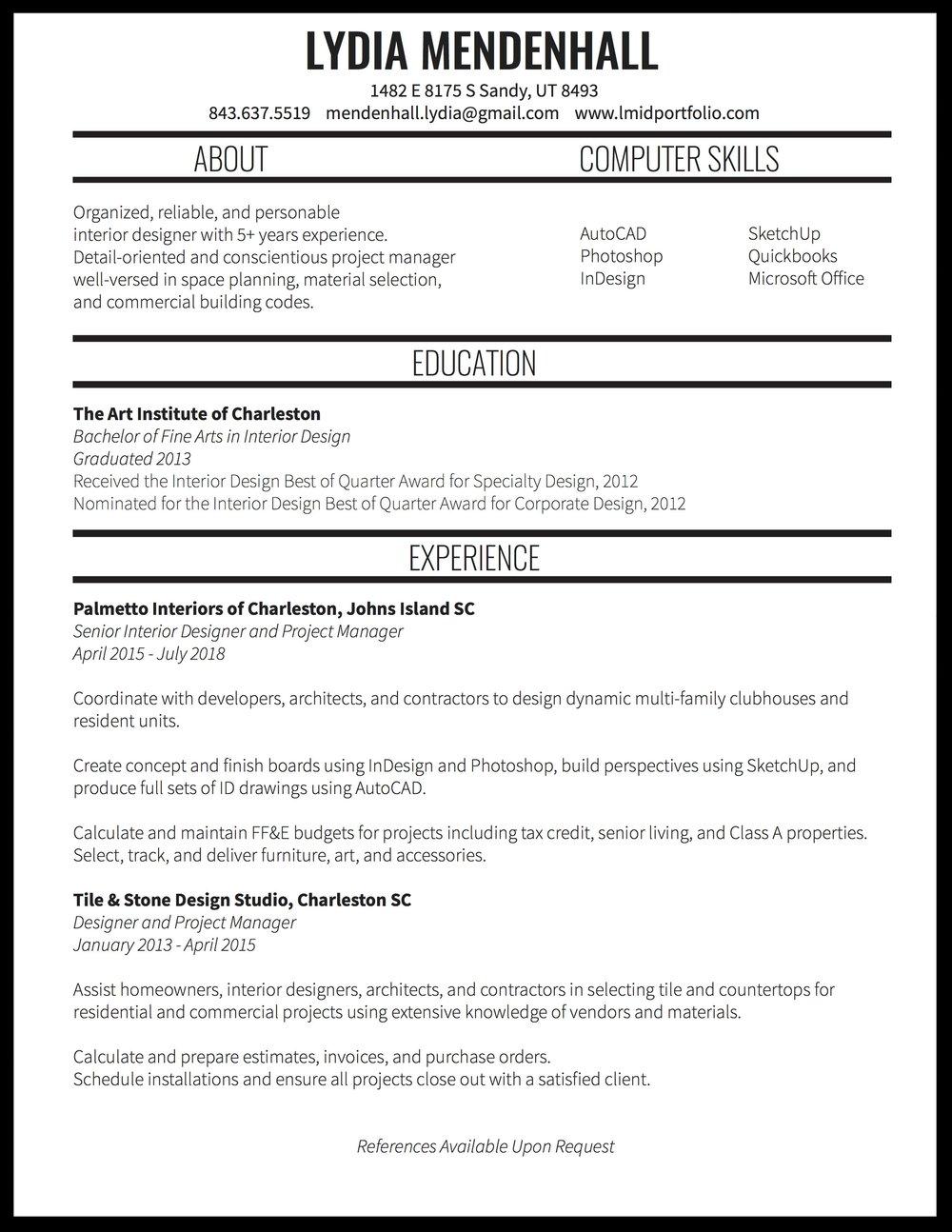 Resume Lydia Mendenhall