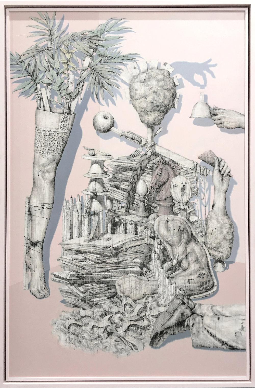Artificial-교묘한 방법들 벽화기법(장지,석회,먹,목탄,아크릴릭,수간채색)161X110 2015.jpg