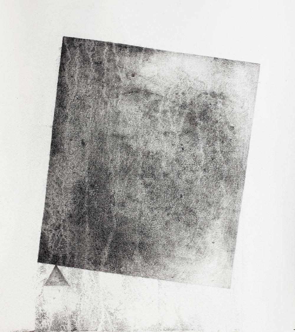 Square triangle  / 네모 세모    Charcoal on terra paper, 45x45cm, 2018