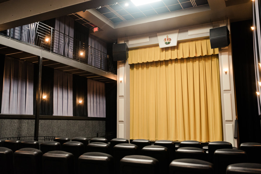 FEATURES - Lobby/reception areaTheater seating for 130StageState-of-the-art audio/visual systemDrop-down projection screen on stageConcessions serviceADA accessibleOn-site staffingMarquee (subject to availability)Available concessions