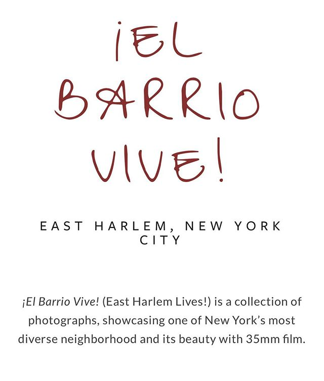Check out the website! elbarriovive.com Photographs will be exhibited on May 12, at The People's Day - event organized by @east_harlem_live more details to come.
