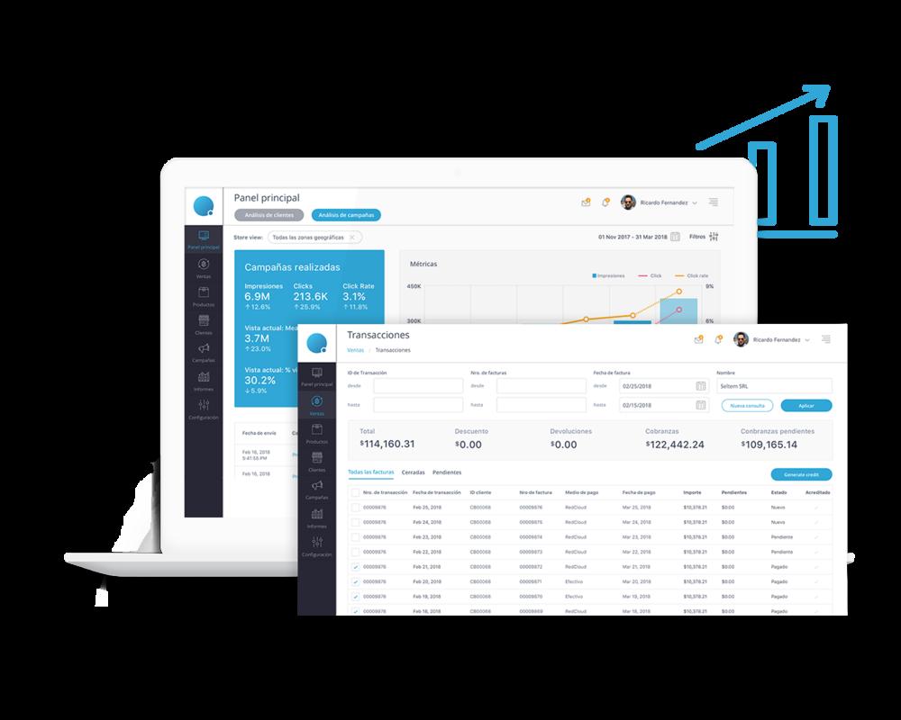 Plataforma en constante crecimiento - Integración con sistemas externos para la planificación de recursos comerciales, la gestión de pedidos y stock, el seguimiento de entregas y la relación con los clientes.