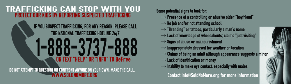 (Click on the image above to download your own card to fold and keep in your wallet to help identify potential trafficking situations.)