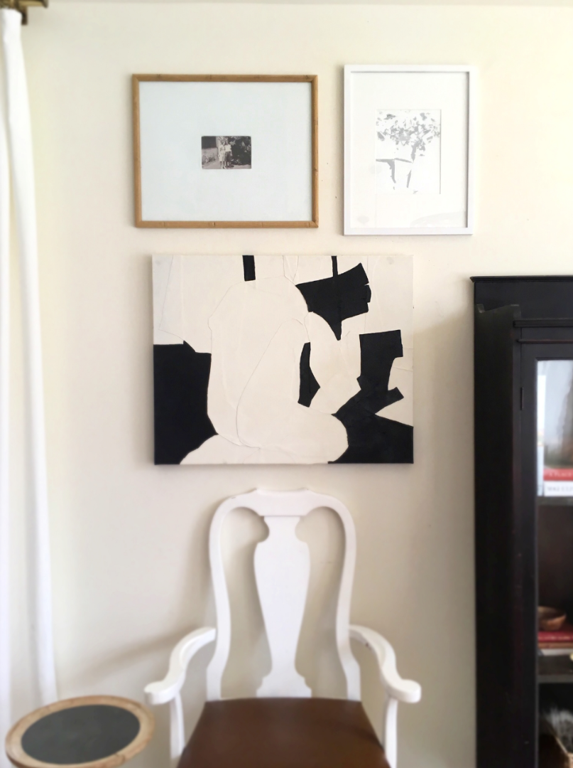 the grey abstract painting is by our oldest son done with acrylic paint on cardstock.