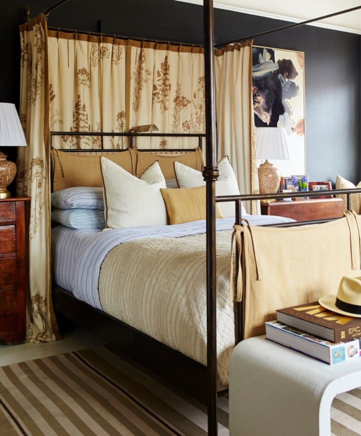 Source  William McLure's striking art and beautiful antique furniture take center stage against black walls.