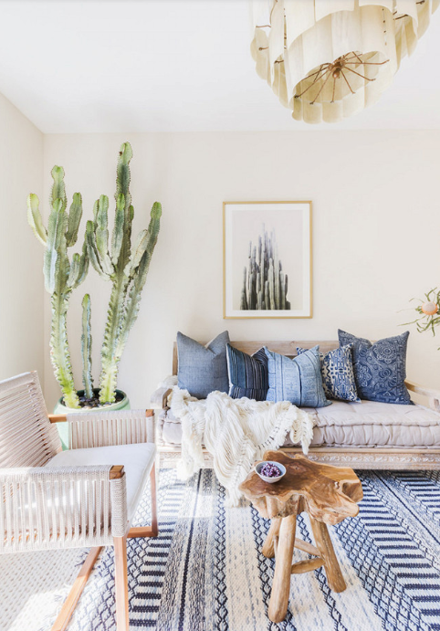 Source  Photo by Alyssa Rosenheck for Amanda Barnes Interiors. This space reminds me of my brother and his wife, who love cactus and have blue peppered throughout their home.