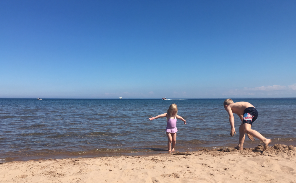 Two of our kids at the beach. They could spend every day at the shore.