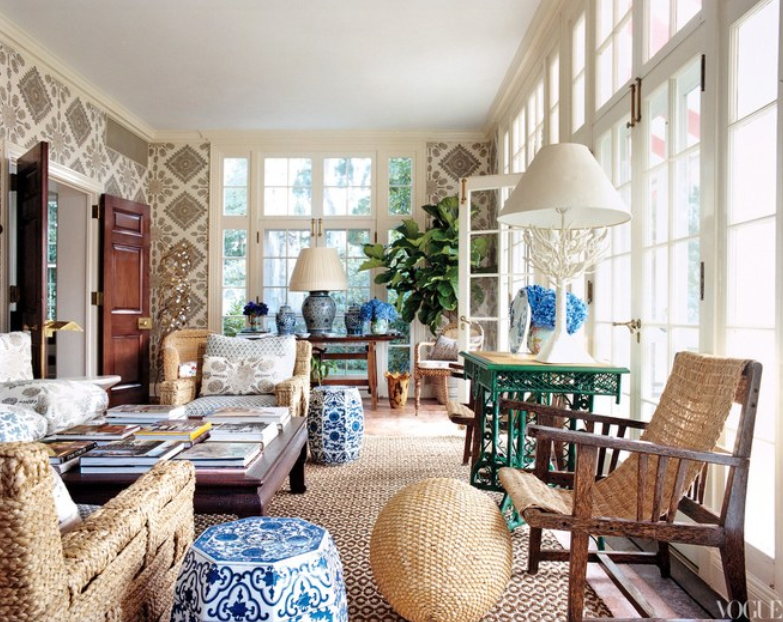 Source Tory Burch sunroom photographed by Francois Halard for Vogue.