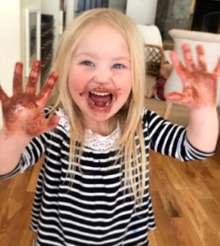 OUR DAUGHTER LOVES CHOCOLATE.