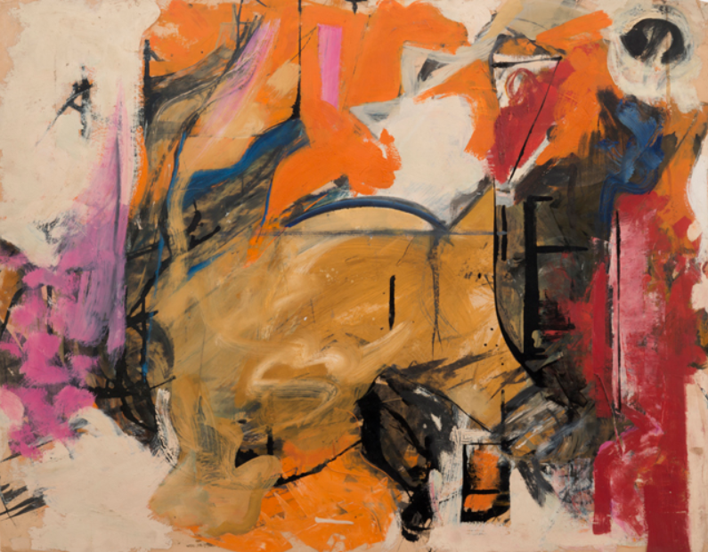 untitled , oil on paper by Pat Passloff, circa 1950s.