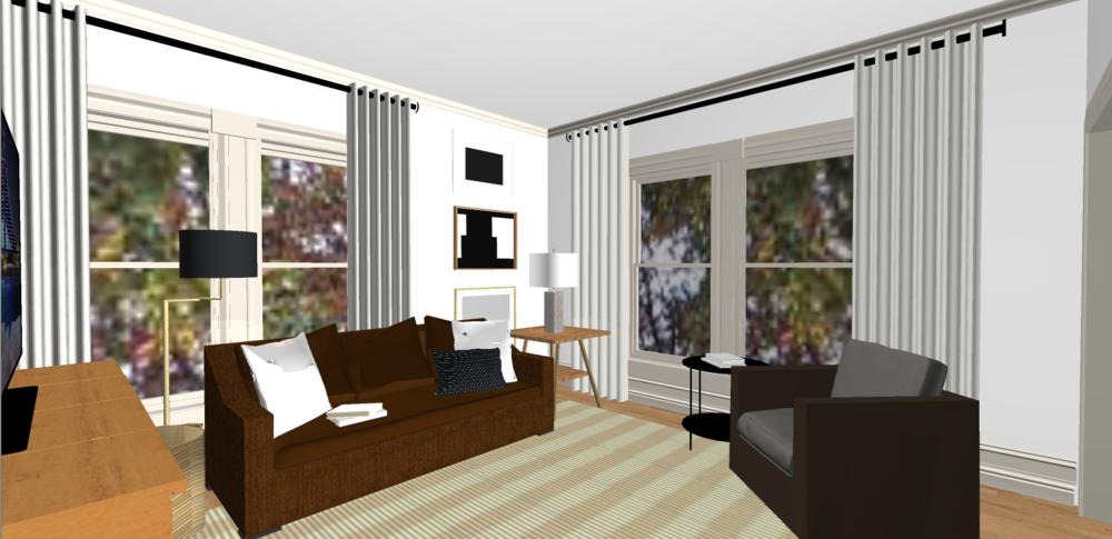 Their living room in the rendering program.