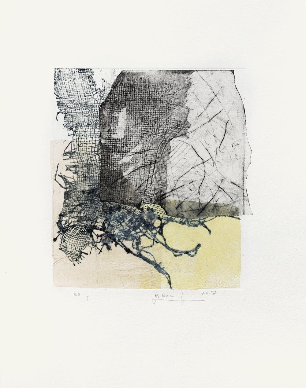 Flottement , 2017  Eau forte, pointe sèche et papier chine contrecollé, 33x45 cm