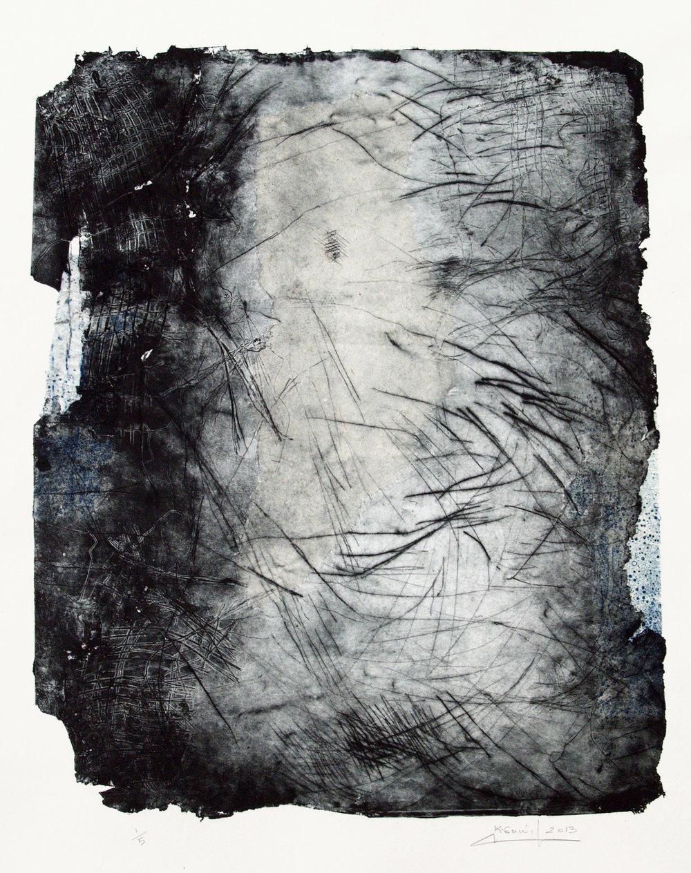 Harmonie intérieure , 2014 Pointe sèche carborundum et papier chine collé, 60x80 cm