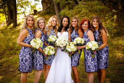 My beautiful best friends in the Anna Dress in blue/white.
