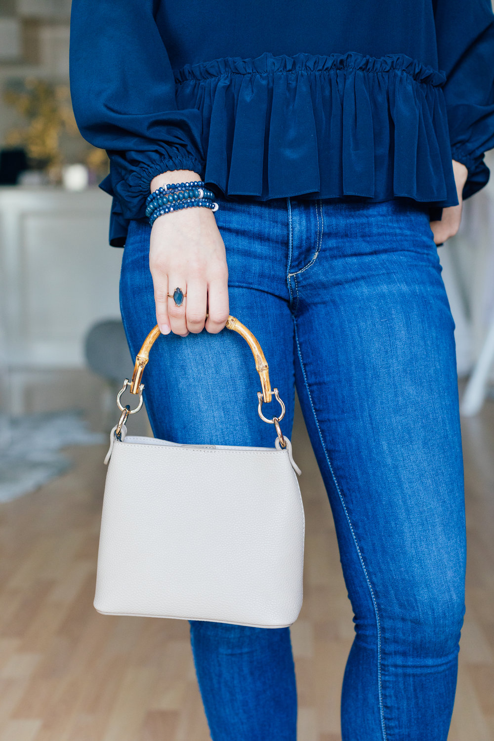 Our favorite new go-to: the Poppy Bag, Marquis Blue Quartz Ring by Andrea Del Bello Jewelry and Pebbles by LLF stackable bracelets!