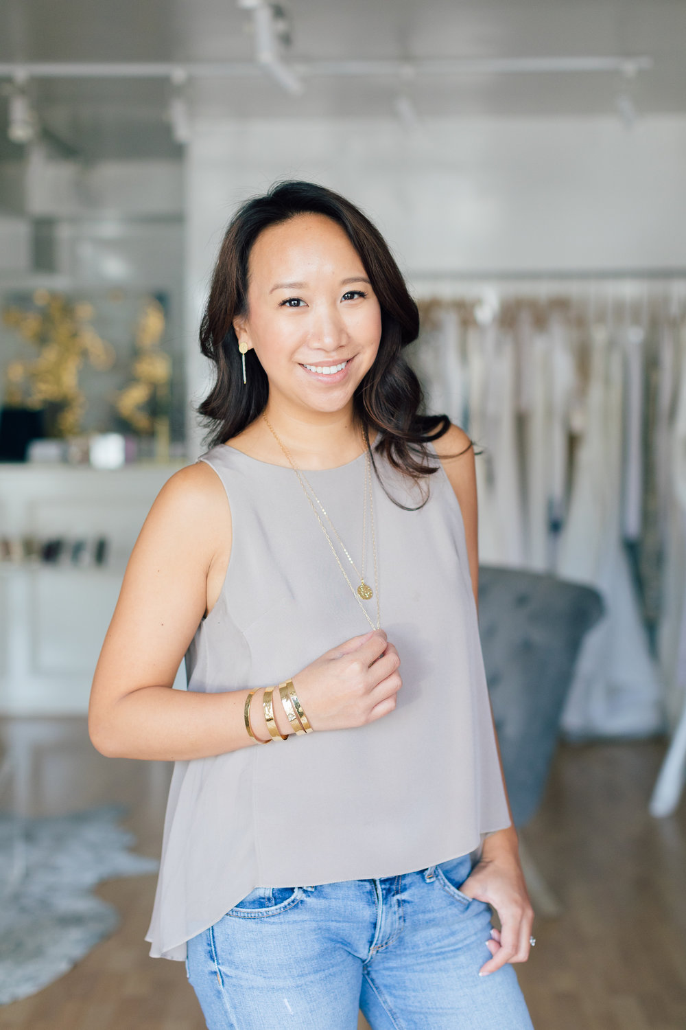 The Julie Top can be made in over 300 colors, but we love it in a simple taupe paired with Andrea Del Bello Spanish Coin Necklaces and Gold Hammered cuffs, all available at the Boutique.