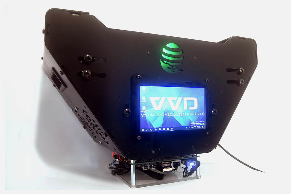 Your 3D content on a real PoV volumetric surface, no glasses needed! -