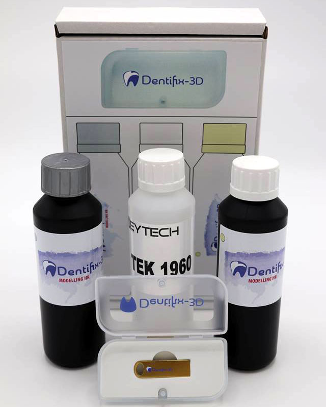 3.DENTAL SPECIAL - The Sample Pack contains 3x 250ml bottles: Dentifix HR in Sand color, Dentifix HR in grey color, TEK1960 non-hazardous solvent for 3D prints safe cleaning, a FEP film (13x19cm) for your resin vat and the special FunToDo 8Gb Gold USB stick!