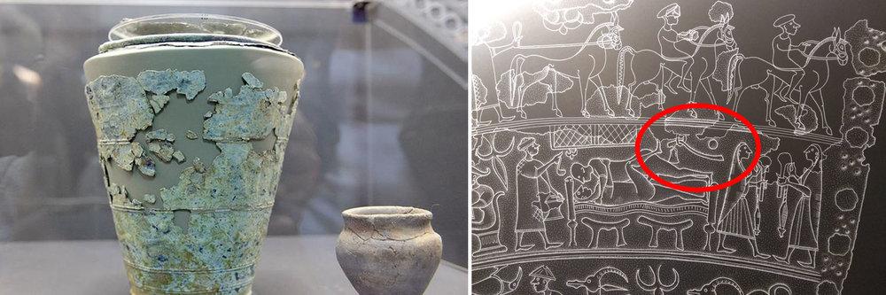 A sinistra la Situla (foto da La Tribuna di Treviso*), mentre a destra la rappresentazione dell'ascia sul disegno della Situla