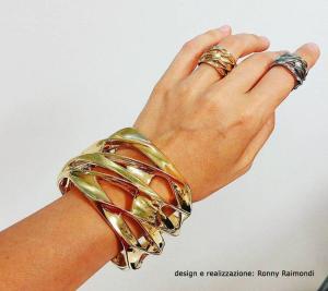 Anelli in argento da fusione e bracciale placcato oro.