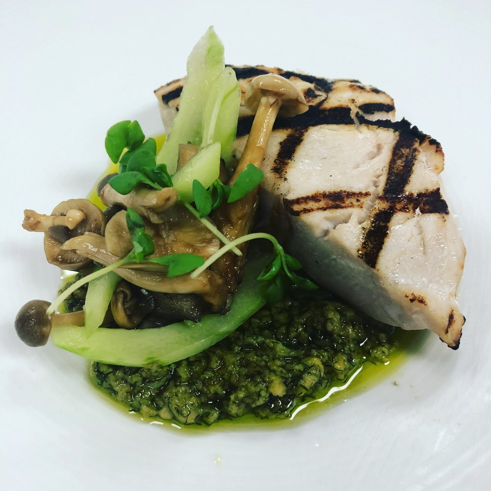 Grilled Sword Fish - Fennel Pesto - Pickled Mushrooms - Cucumbers