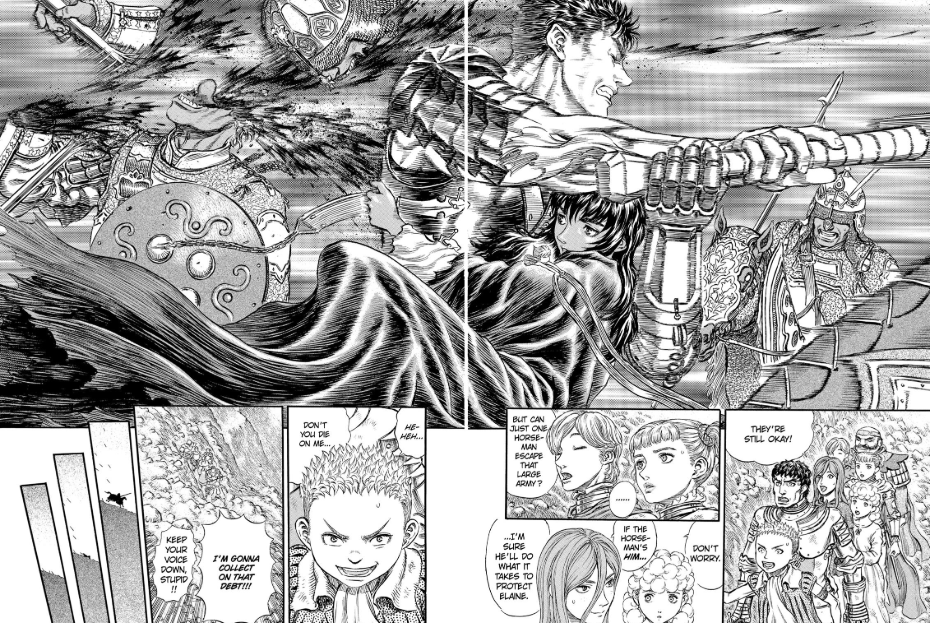 Such a great moment from Episode 176. After all the crap they went through in the Tower of Conviction, everyone still has time to admire Guts's badassery.