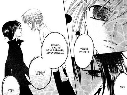 Akito as a male, taunting the troubled Yuki.