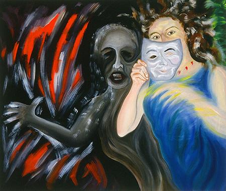 "Trinity-Self Portrait  1991  oils/canvas 44x52"""