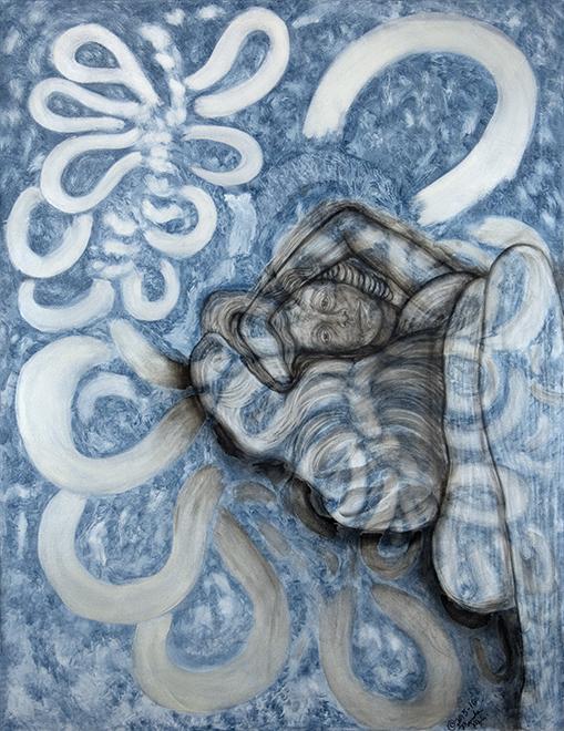 "Dreamers #6  2015-16  oils/canvas  68 x 52"""