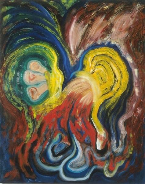 "Trampoline 1995  oils/canvas  60 x 48"""