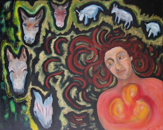 Annunciation #2 - with Donkeys 2004 oils/canvas 48 x 60""