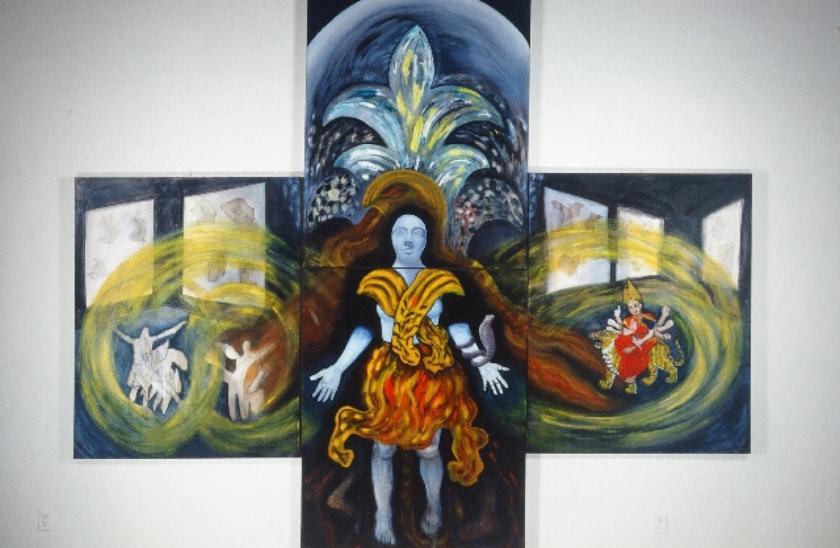 Kouros Departure Altarpiece - quadriptych 2000 oils/canvas 10 ft. x 12 ft.