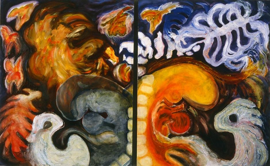 """Releasing My Butterflies  1997 oils/canvas  60 x 96"""""""