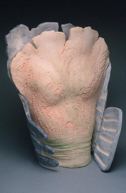 "Fossil Woman Vessel - flesh/grey 1989 stoneware 24 x 17 x 12"""