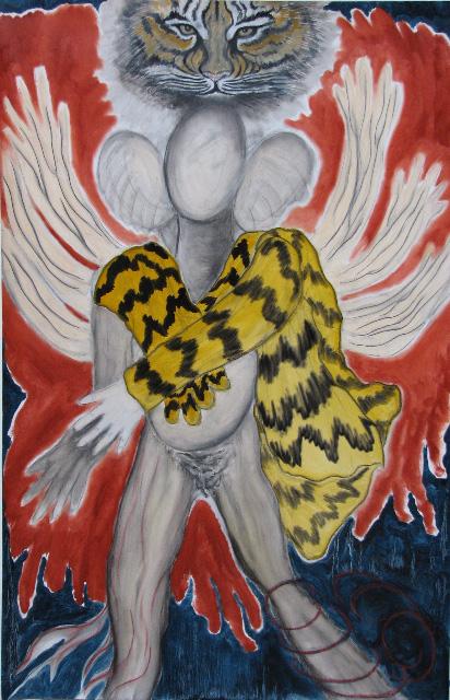 """Tigerwoman  oils/paper  2011   40 x 24"""""""