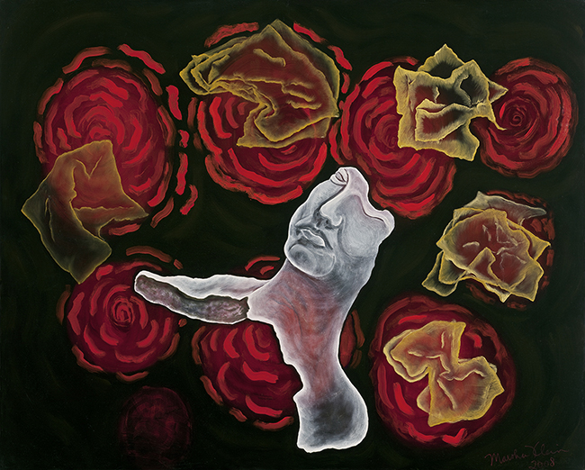 "Ancient Remains 2008 oils/canvas 48 x 60""   From the series that I called, ""Our Lady of the Roses,"" to represent the essence of a divine healing realm, which contains relics of the past, ruins of civilization in counterpoint to nature. In this painting a translucent head of an Ancient Roman Sculpture floats or falls among translucent fortunes."