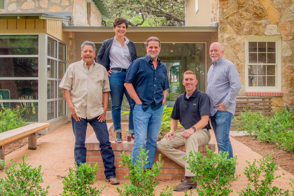 The Zoeller Haus restoration team included (L-R) Erasmo Arreola, Melissa Haberstroh, Robert Thornton, Travis Roberson and Danny Kreifels.