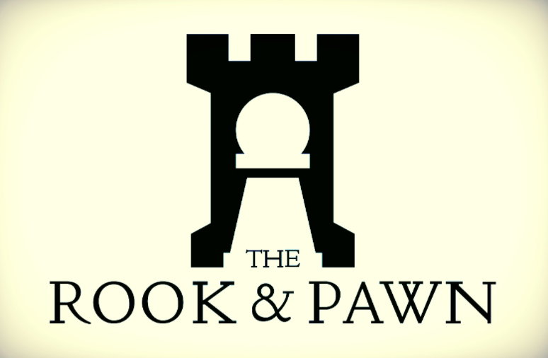 the rook and pawn board game cafe logo