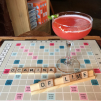 the rook and pawn board game cafe cocktail called ocarina of lime after legend of zelda game