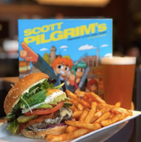 mox boarding house board game cafe scott pilgrim versus the world game and burger pairing with fries.png