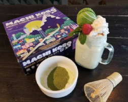 the hexagon board game cafe machi koro game paired with matcha smoothie