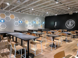 the hexagon board game cafe tables and chairs