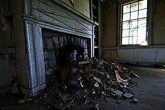 The fireplace - complete with rubble from being torn down.