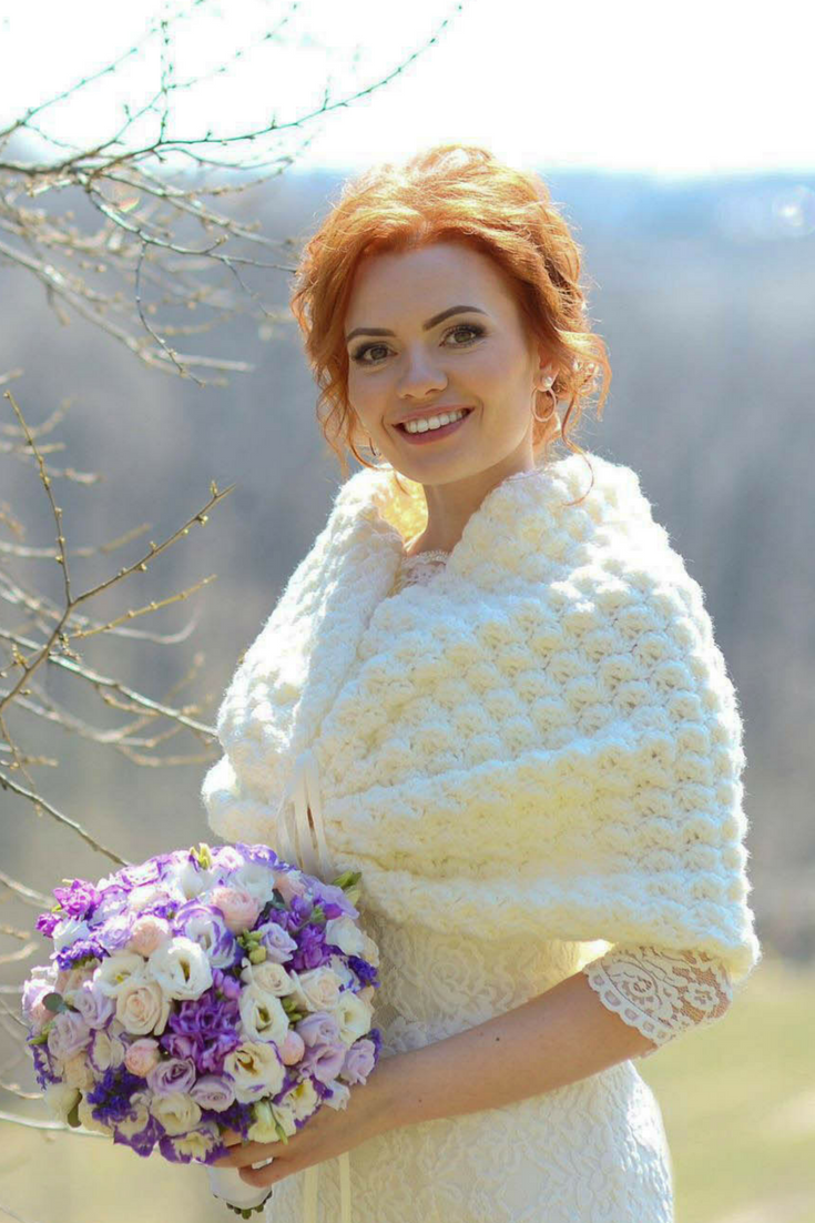 Ivory Bridal Cape Romantic Wedding Bolero Knit Shawl Crochet Cover Up Bridesmaid Gift Satin Ribbon Knitted Shrug Maid of Honour XS - XXXL.png