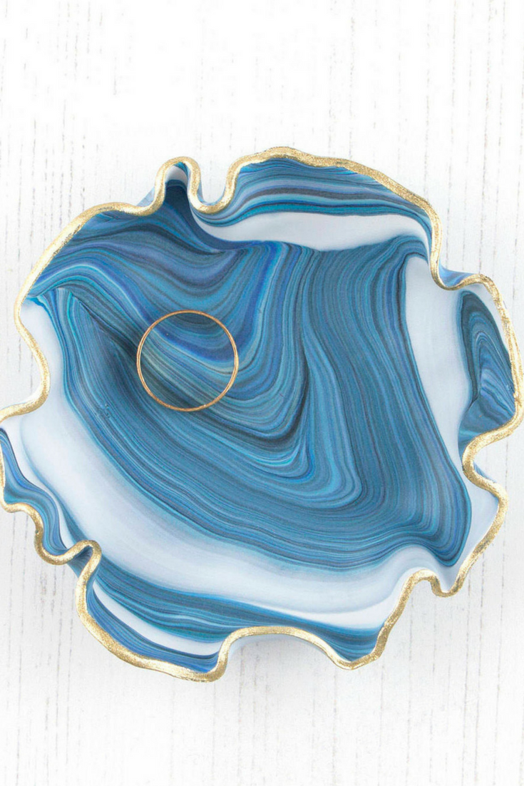 Blue Marble Ring Dish