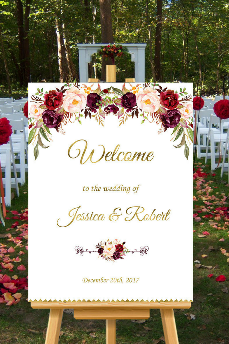 Burgundy Wedding Welcome Sign - $10