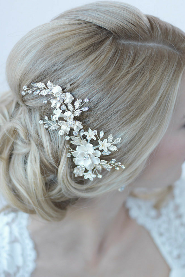 Ivory Floral Hair Clip- $99