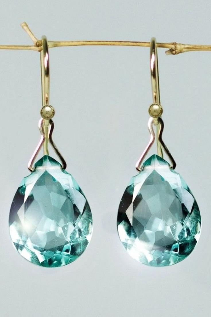 Sage Prasiolite Earrings, Solid Gold