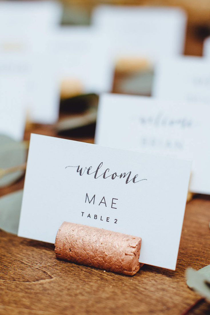 Copper Wine Cork Place Card Holder or Place Setter, Wine Cork Name Badge Name Card Holder.png
