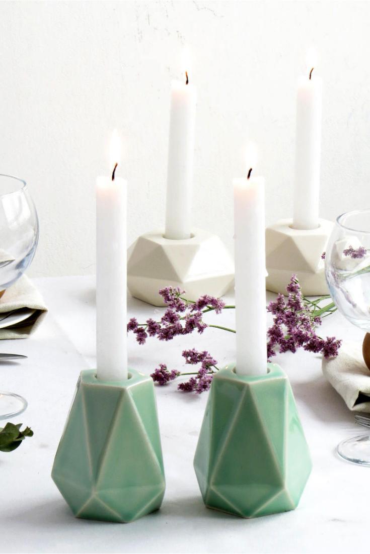 Pale Green Ceramic Shabbat Candlesticks, Geometric Candleolder, Modern Judaica, Made in Israel.png
